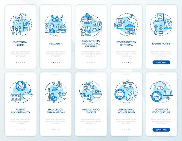 Набор концепций экрана страницы мобильного приложения мировых религий синий. питание и голодание. религиозные вопросы пошаговое руководство, 5 шагов, графические инструкции. шаблон пользовательского интерфейса с цветными иллюстрациями rgb