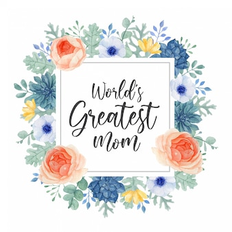 World's greatest mom, mother's day greeting card design with colorful geometric floral frame
