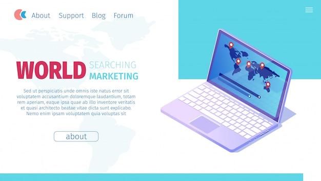 World searching marketing vector illustration.