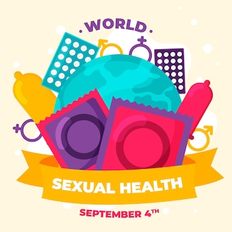 World sexual health day background with condoms