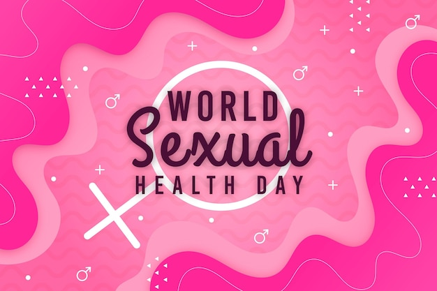 World sexual health day background with female gender sign