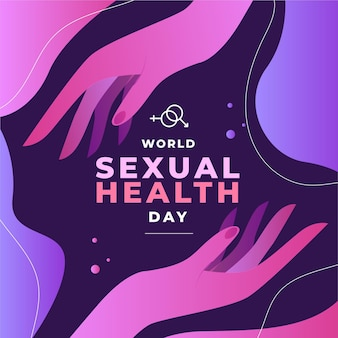 World sexual health day background with hands