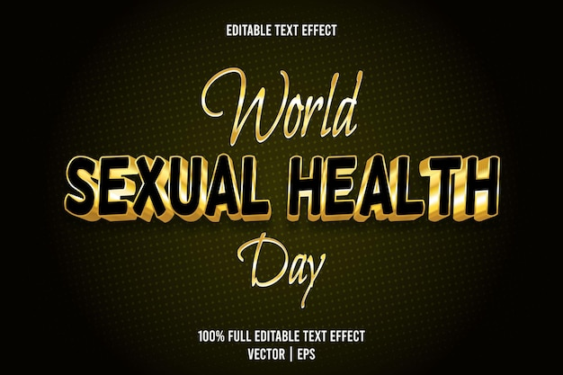 World sexual health day editable text effect 3 dimension emboss luxury style