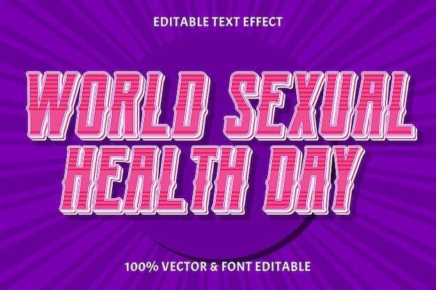 세계 성 건강의 날 편집 가능한 텍스트 효과 빈티지 스타일