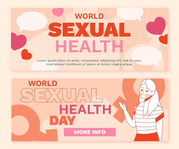 세계 성 건강의 날 가로 배너 세트