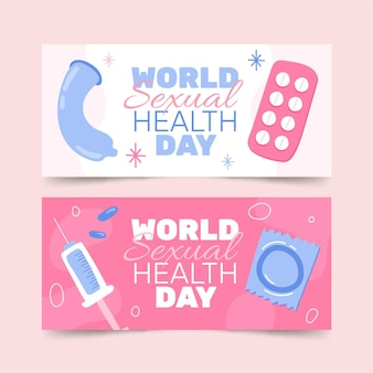 World sexual health day horizontal banners set