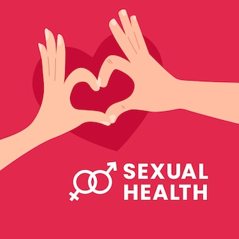 World sexual health day illustration design couple man and woman make love sign hand gesture