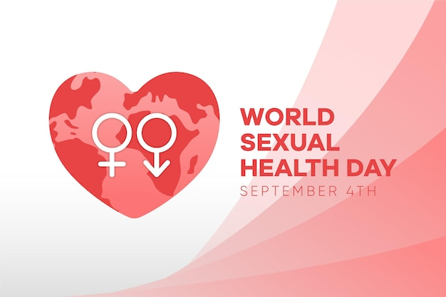 World sexual health day with gender signs and heart background