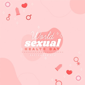 World sexual health day with gender symbols and condoms