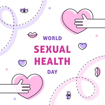 World sexual health day with hearts