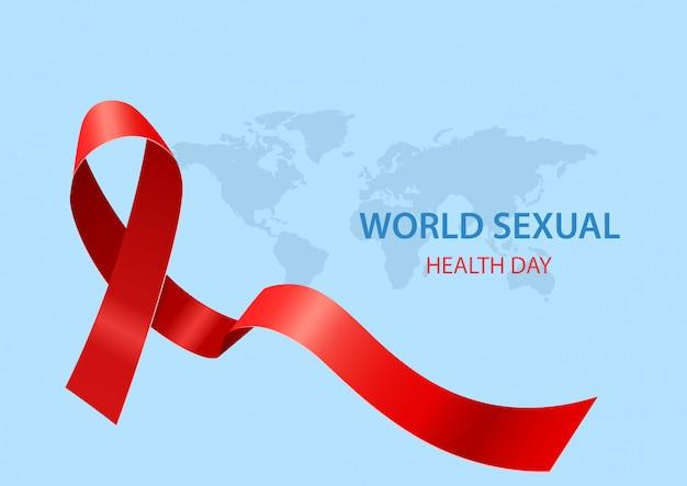 Всемирный день сексуального здоровья с лентой. векторная иллюстрация