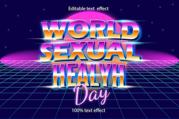World sexual health editable day text effect retro style with neon