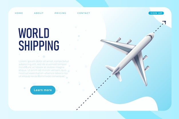 World shipping web page template with realistic plane