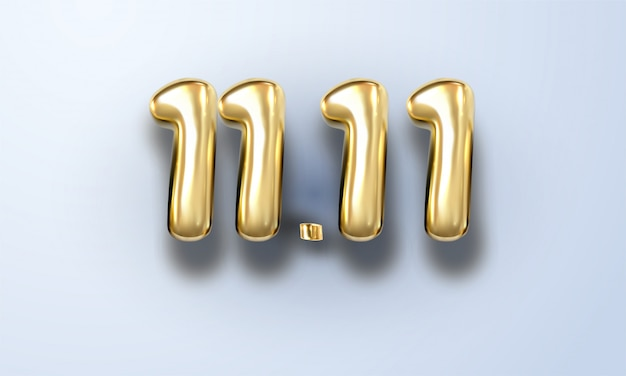Всемирный день покупок 11.11. глобальная распродажа. большая распродажа года. реалистичное золото
