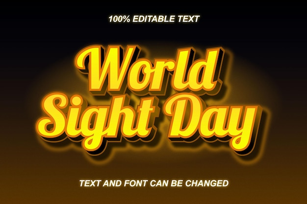 World sight day editable text effect modern style