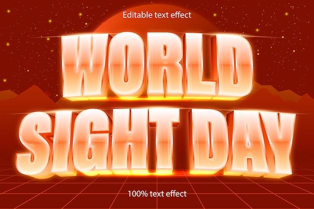 Редактируемый текстовый эффект всемирного дня в стиле ретро