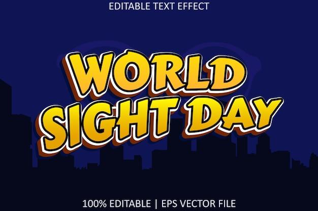 Редактируемый текстовый эффект в современном стиле всемирного дня зрения