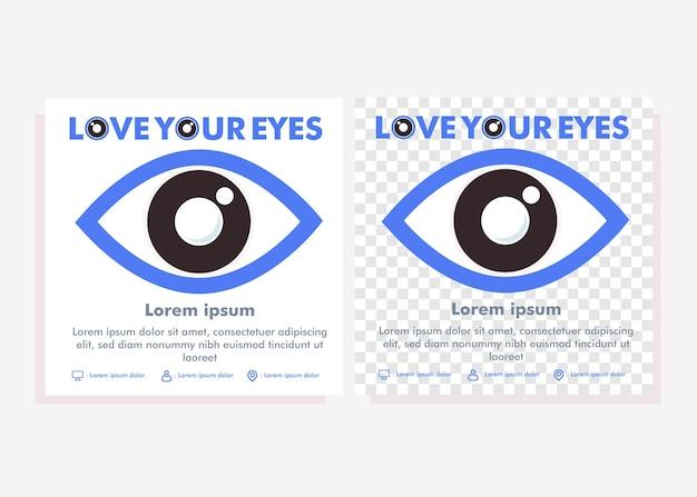 Шаблон сообщения в социальных сетях всемирного дня достопримечательностей. сообщение в социальных сетях для концепции дизайна кампании по здоровью глаз