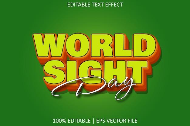 Всемирный день зрения с эффектом редактируемого текста в современном стиле