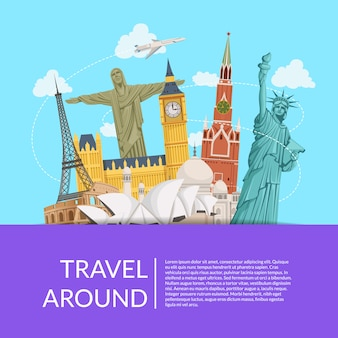 World sights with sky background with place for text illustration