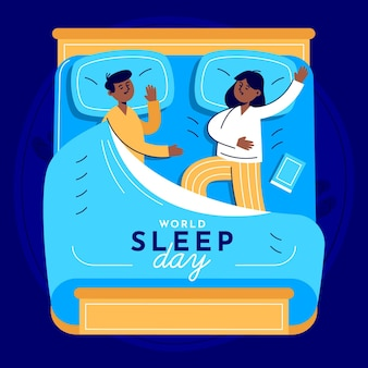 World sleep day illustration with couple in bed
