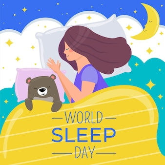 Illustrazione di giornata mondiale del sonno con donna addormentata che dorme e orso
