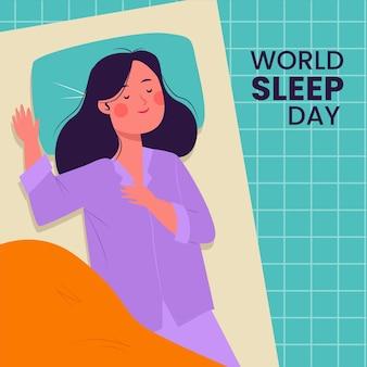 Illustrazione di giornata mondiale del sonno con donna che dorme