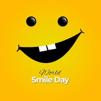 黄色の背景に世界の笑顔の日のデザイン