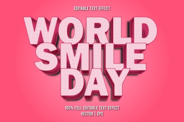 World smile day editable text effect cartoon style