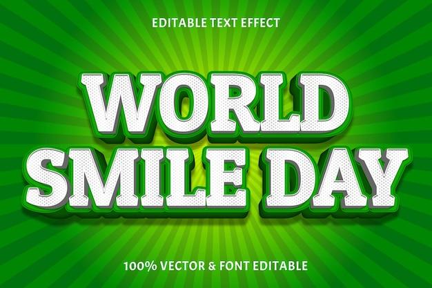 Всемирный день улыбки редактируемый текстовый эффект цвет белый зеленый трехмерный современный стиль