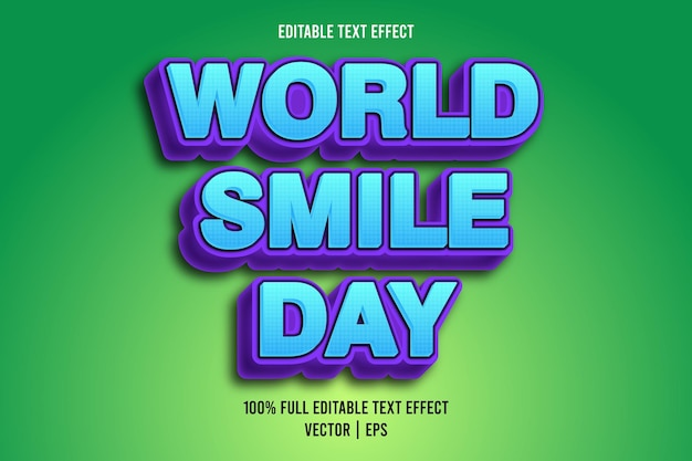 World smile day editable text effect comic style