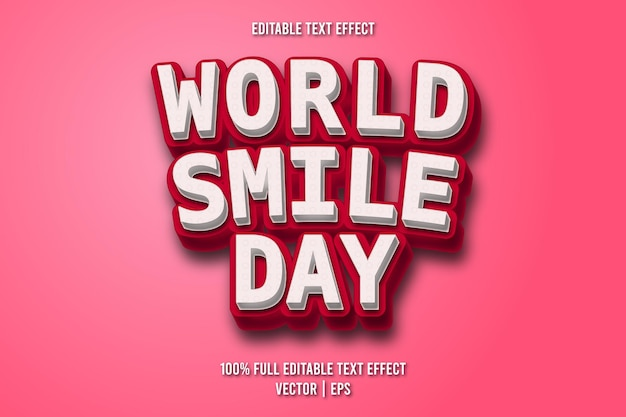 Редактируемый текстовый эффект всемирного дня улыбки в стиле комиксов