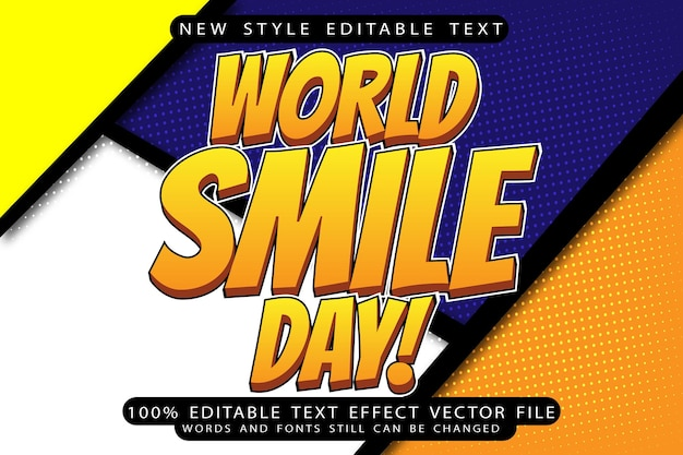 World smile day editable text effect emboss comic style