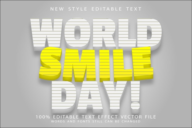 World smile day editable text effect emboss modern style