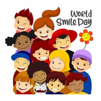 世界の笑顔の日。幸せな笑顔の人々