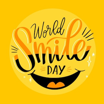 World smile day lettering with mouth