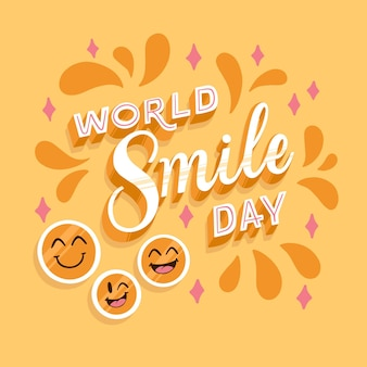 World smile day lettering with stars