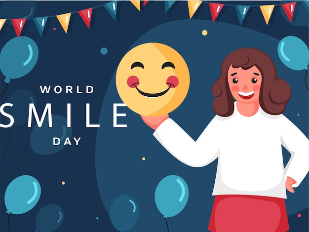 세계 미소의 날 포스터 디자인 일러스트 레이션