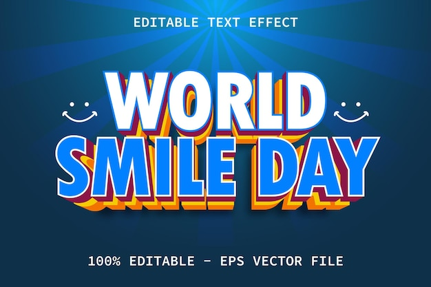 World smile day with modern layered style editable text effect