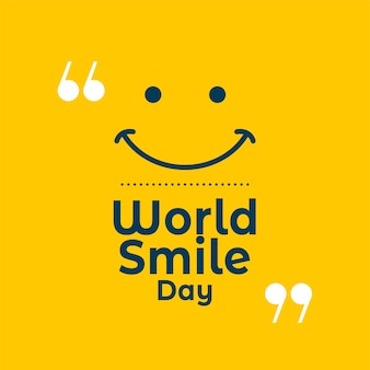 World smile day yellow quote background