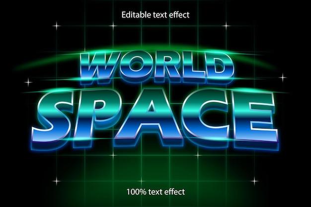 세계 공간 편집 가능한 텍스트 효과 복고 스타일