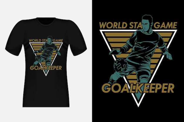 ワールドスターズゲームゴールキーパーシルエットヴィンテージtシャツデザインイラスト