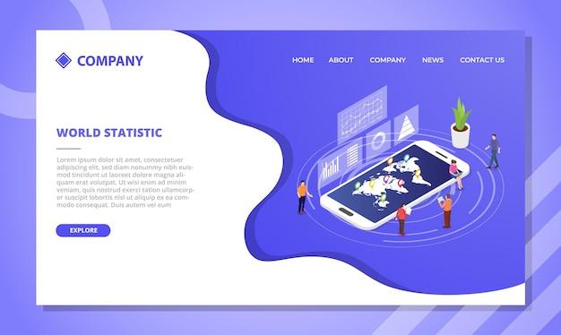 세계 통계 개념. 아이소 메트릭 스타일의 웹 사이트 템플릿 또는 방문 홈페이지 디자인