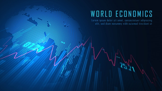 World stock market or forex trading graph in graphic background concept