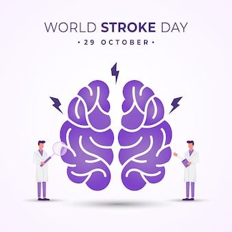 연구 개념이 있는 세계 뇌졸중의 날 일러스트레이션 디자인