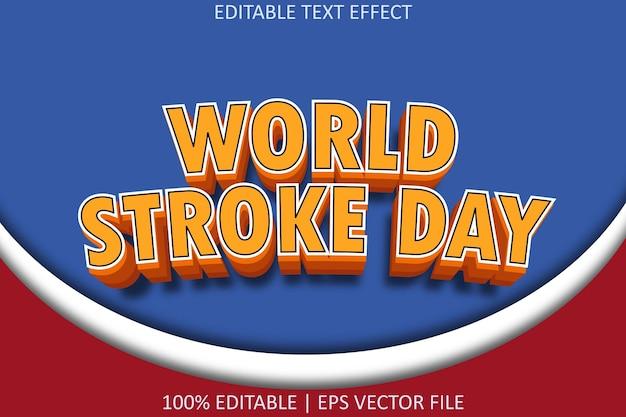 Редактируемый текстовый эффект в современном стиле, посвященный всемирному дню инсульта
