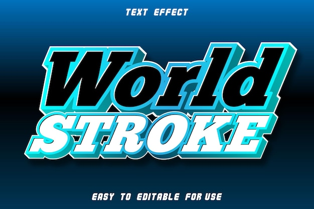 World stroke editable text effect emboss modern style
