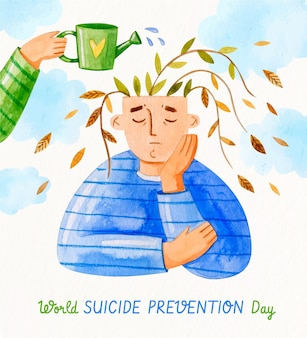 World suicide prevention day illustration
