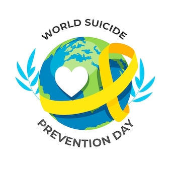 World suicide prevention day with heart and globe