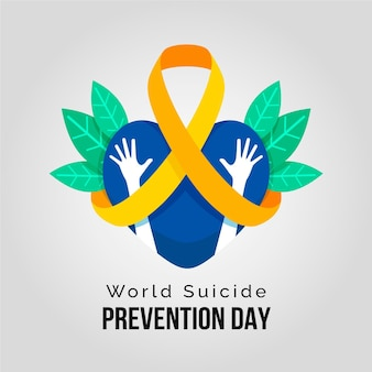 World suicide prevention day with heart and hands